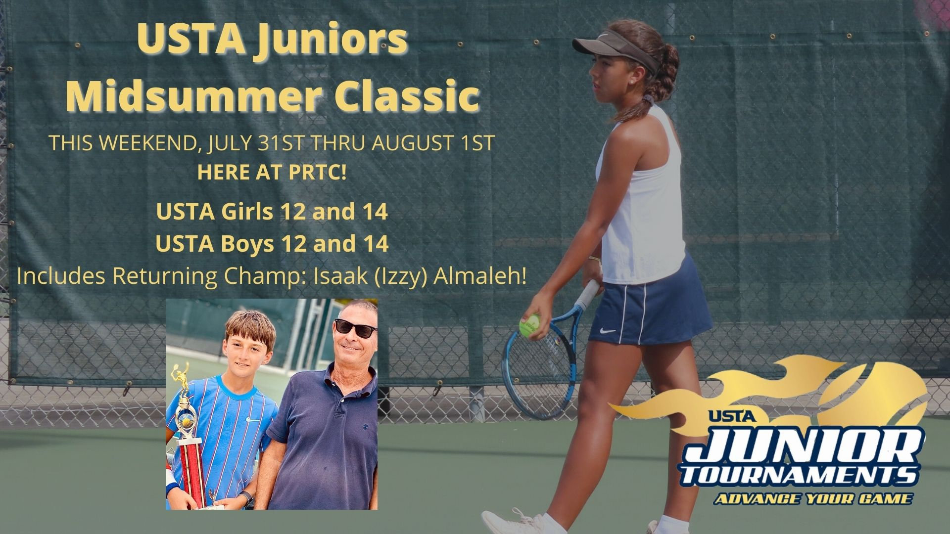 USTA Mid Summer Classic and photo of trphy winner with tournament Director , Pic of Girl serving